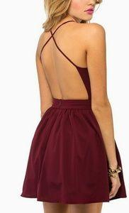 TOBI X Back Skater Dress Backless Prom Burgundy